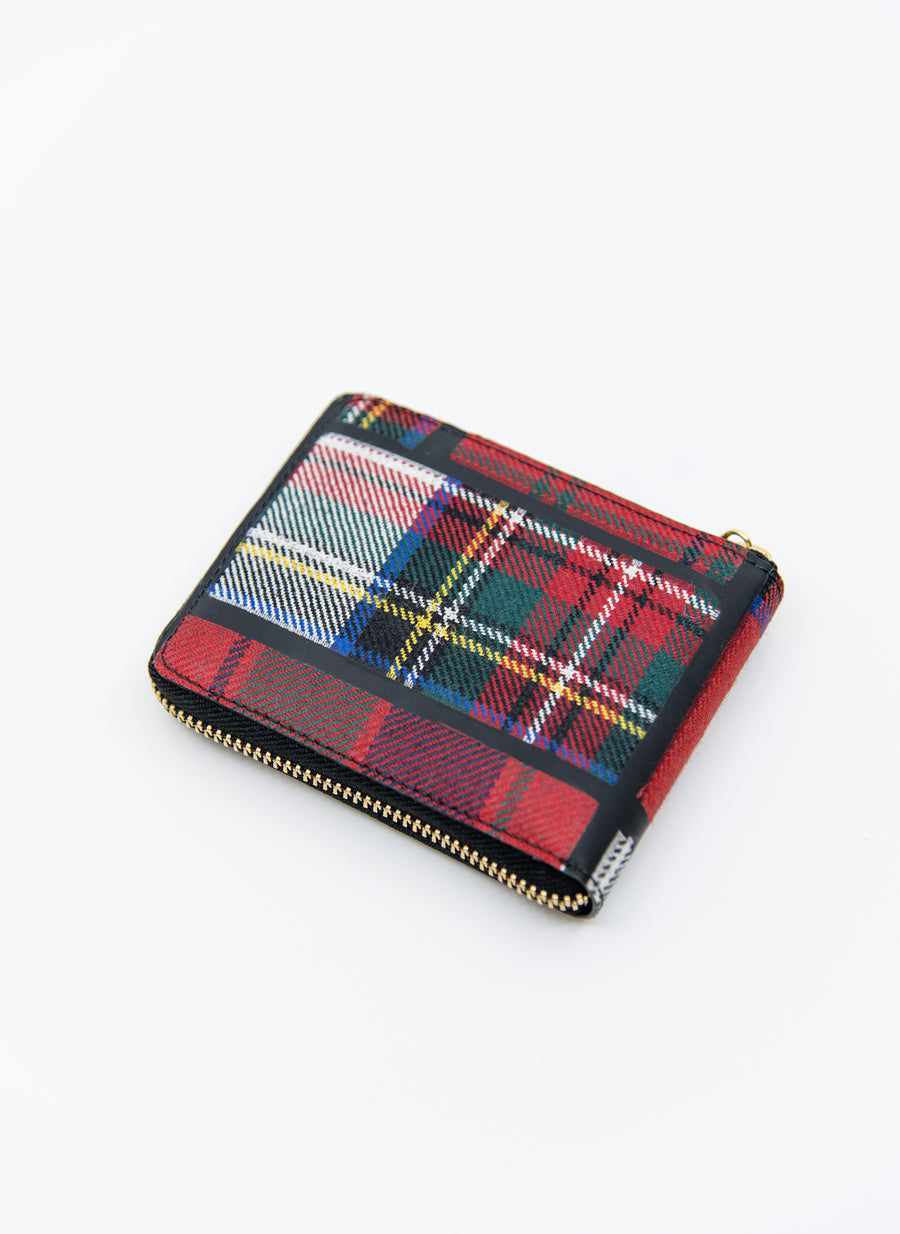 3-Sided Zip Tartan Wallet Red