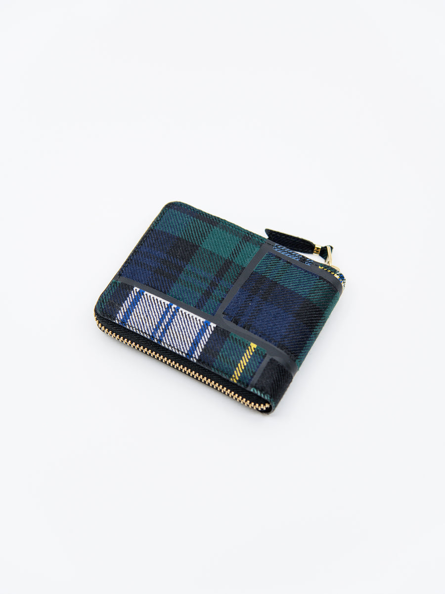 3-Sided Zip Tartan Wallet Green