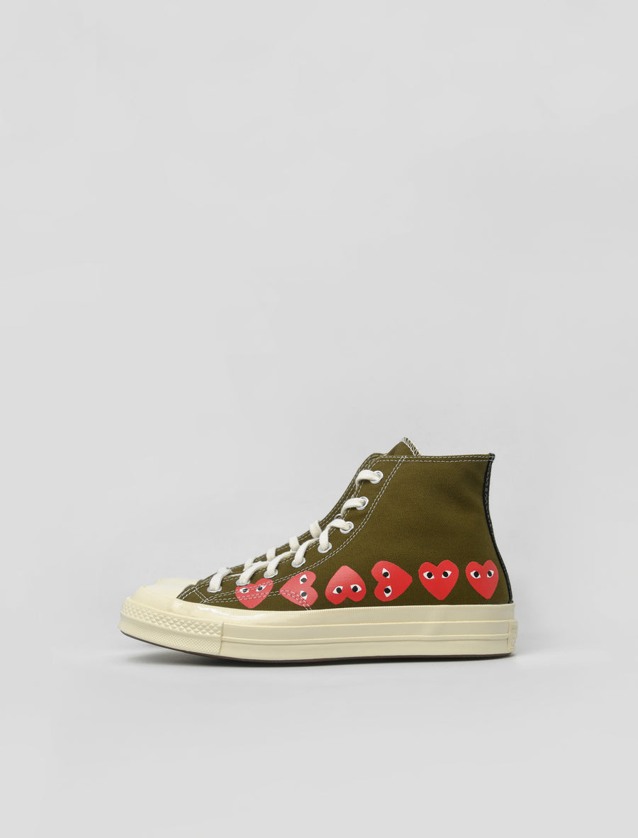 PLAY Multi Heart Chuck Taylor High Olive K116-001-1