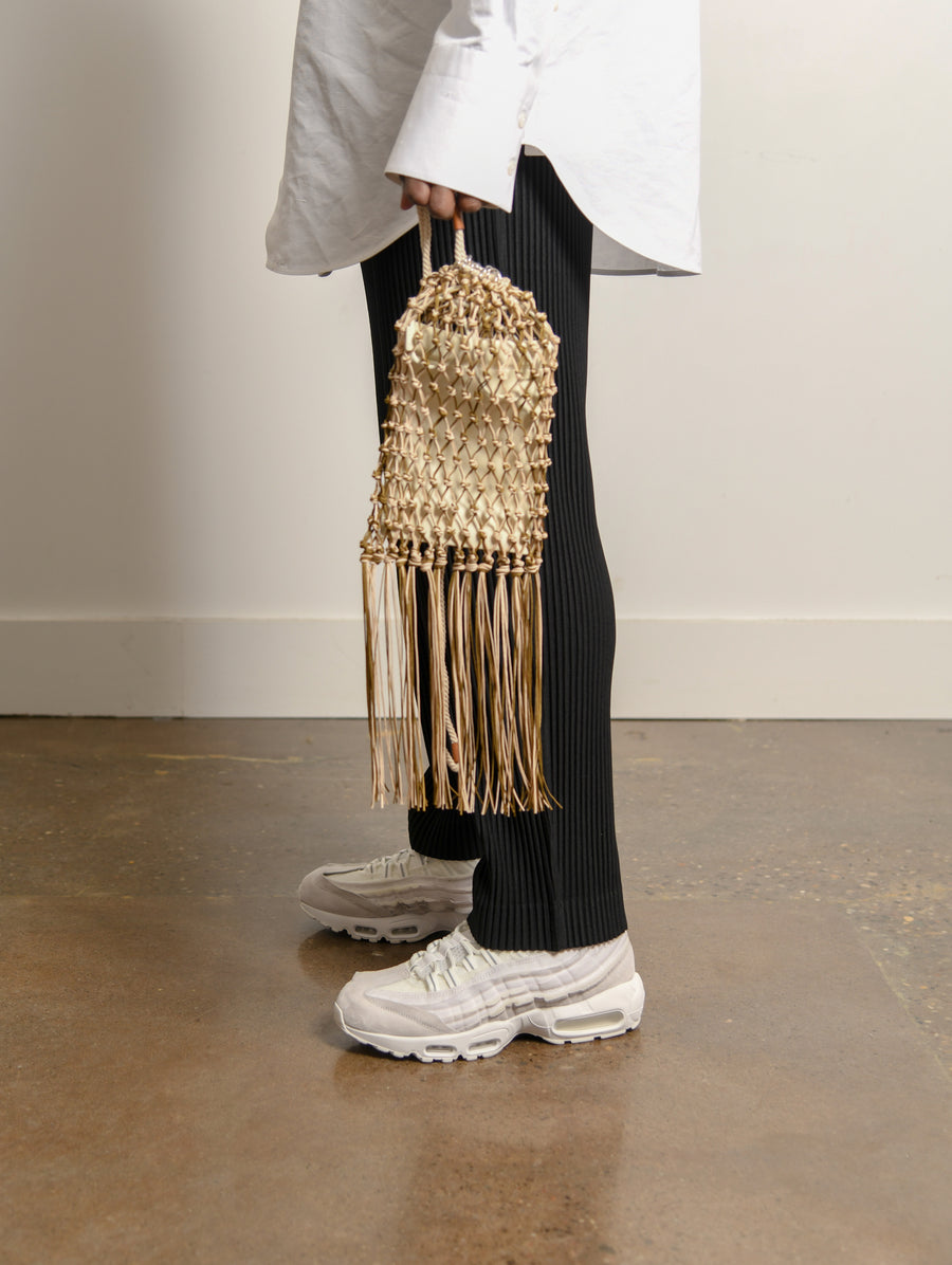 Net Drawstring Bag Beige