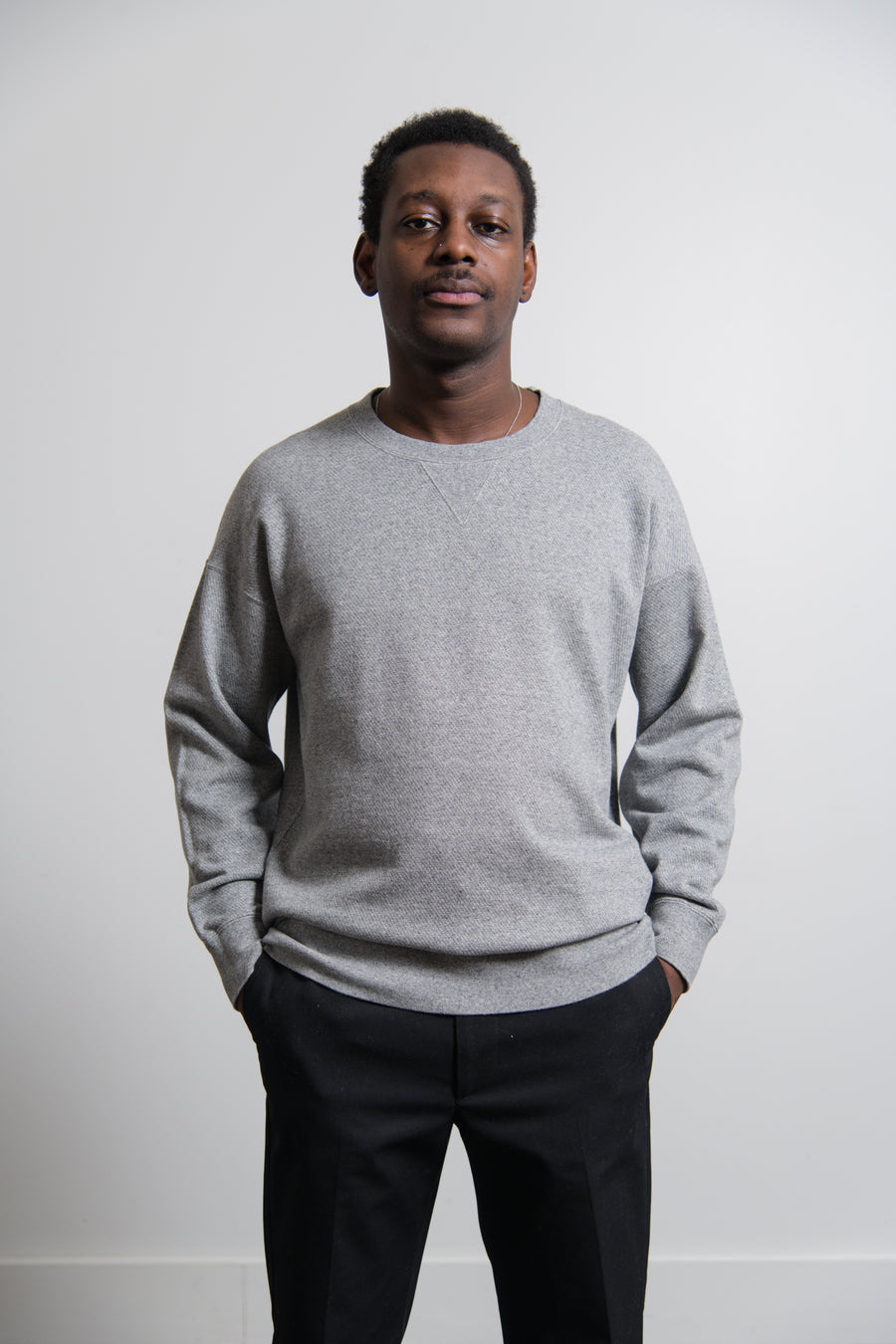 Jumbo Numbering Crewneck Sweater Grey