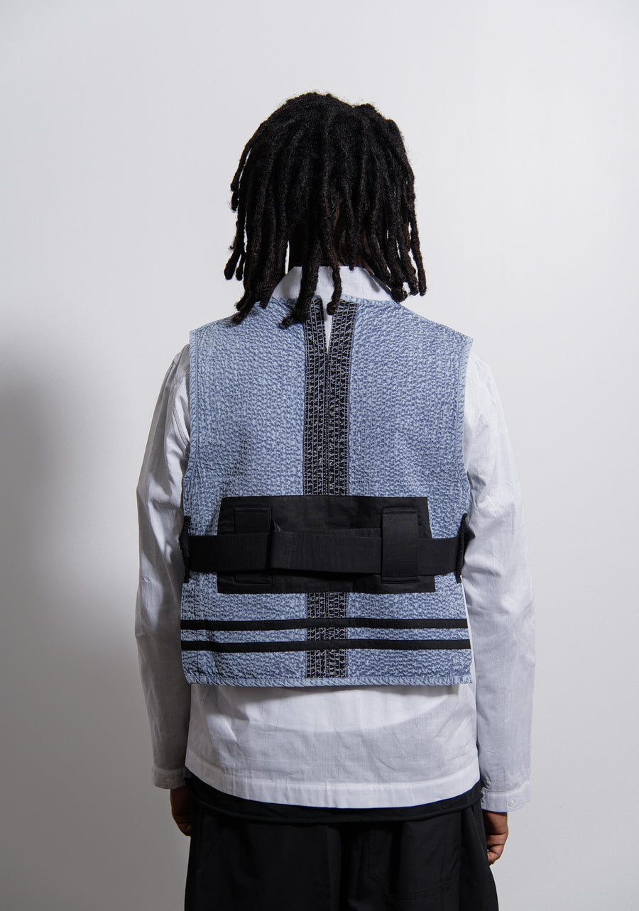 Acid Wash Line Stitch Vest Blue