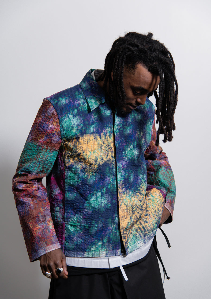 Line Stitch Vibrating Floral Worker Jacket Multicolour