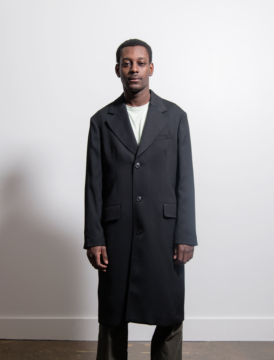 Dolphin Herringbone Coat Black