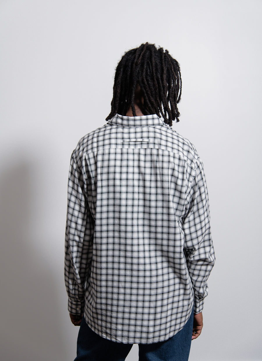 Classic Cotton Viscose Check Shirt White