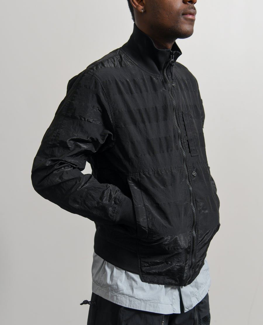 Striped Nylon Metal Bomber Jacket Black