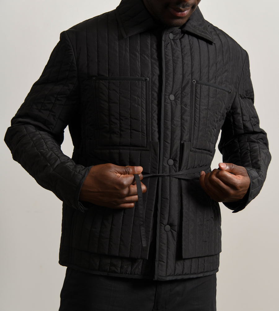 Quilted Worker Jacket Black