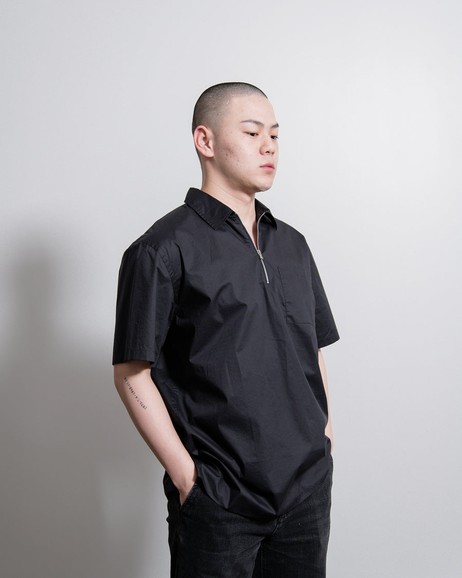 Coated Cotton Camp Shirt Navy