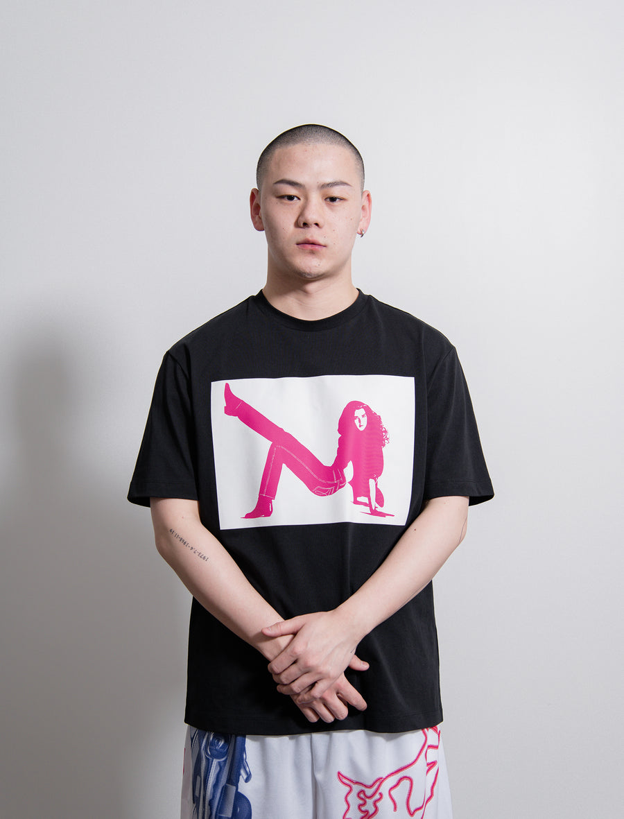 S/S Icon Print Tee Black/White/Fuchsia