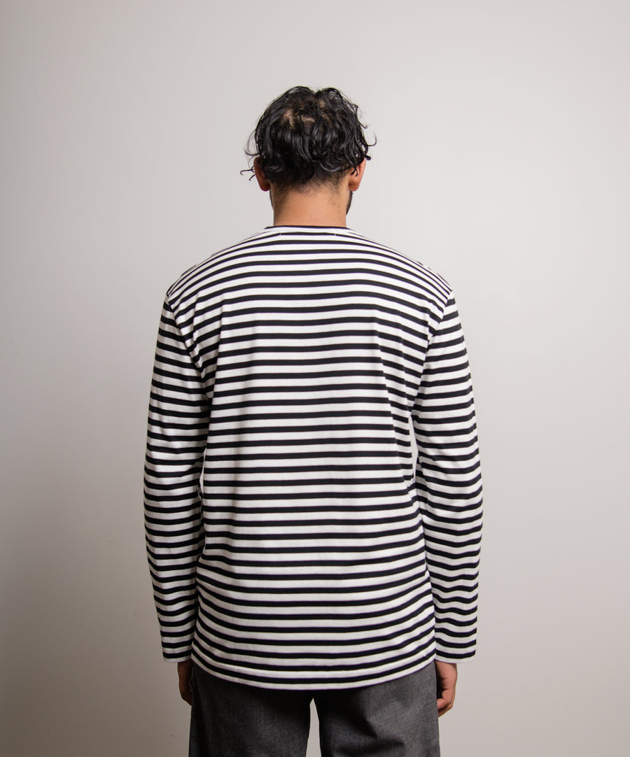Long Sleeve Striped Emblem Tee Black/White/Red T164