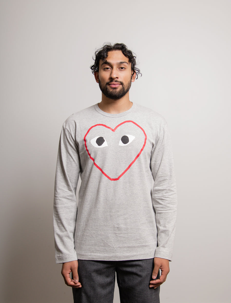 Long Sleeve Heart Outline Print Tee Red/Grey T270
