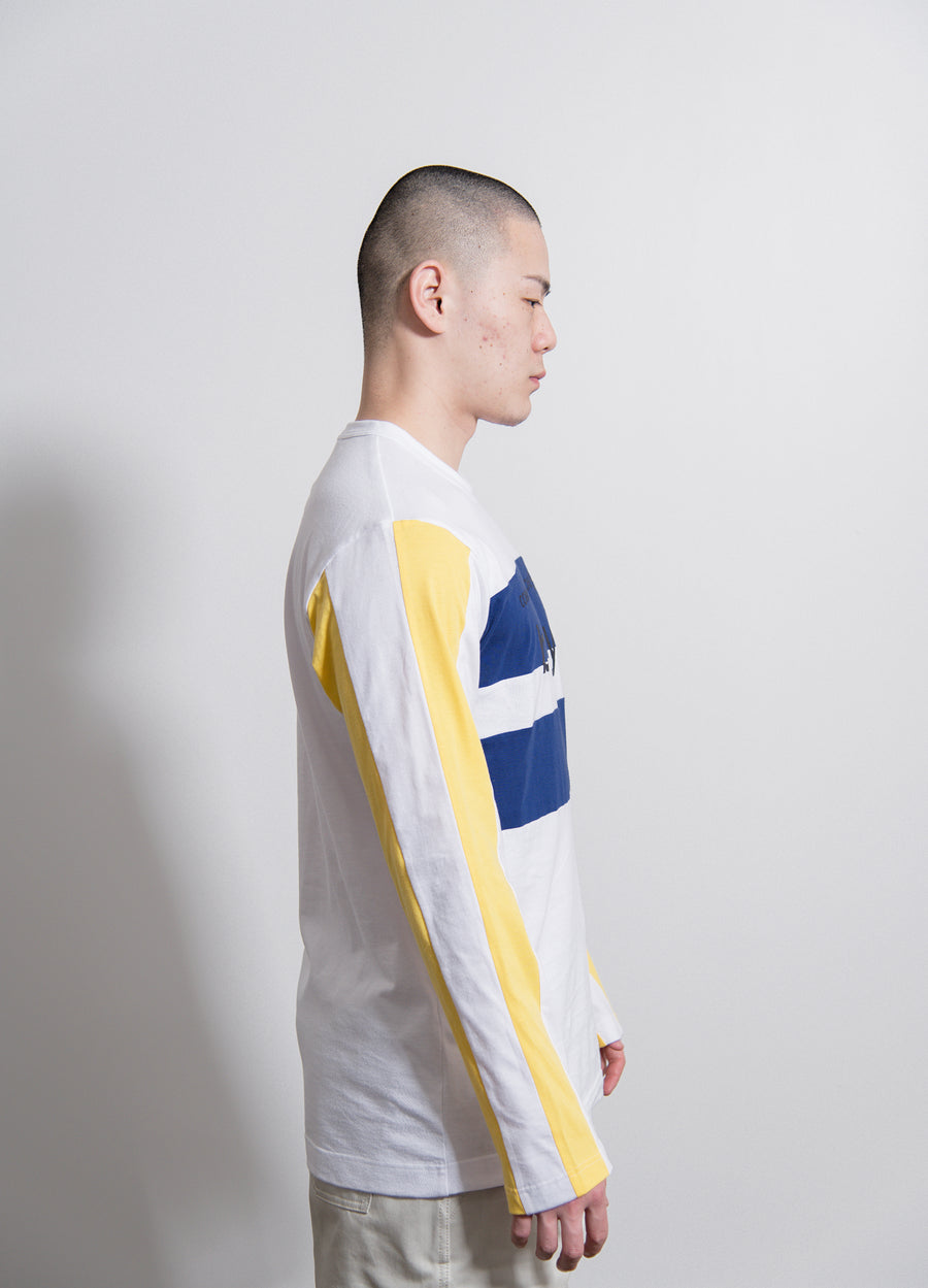 L/S Contrast Tee Navy/Yellow/White