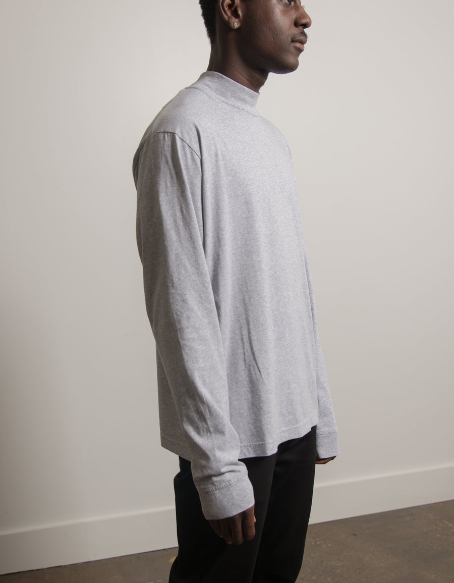 Mock Neck Tee Heather Grey TSHI000212