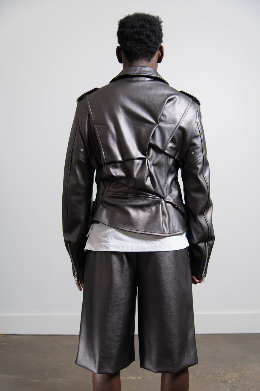 Metallic Faux Leather Jacket Gunmetal Silver J016