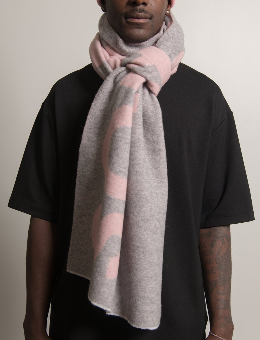 Double-Faced Wool Scarf Pink/Grey SCAR000114