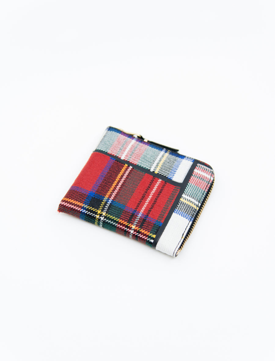 2-Sided Zip Tartan Wallet Red