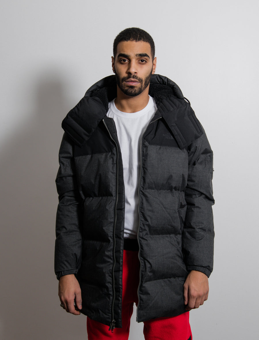 Down Filled Wool Nuptse Coat Black Heather
