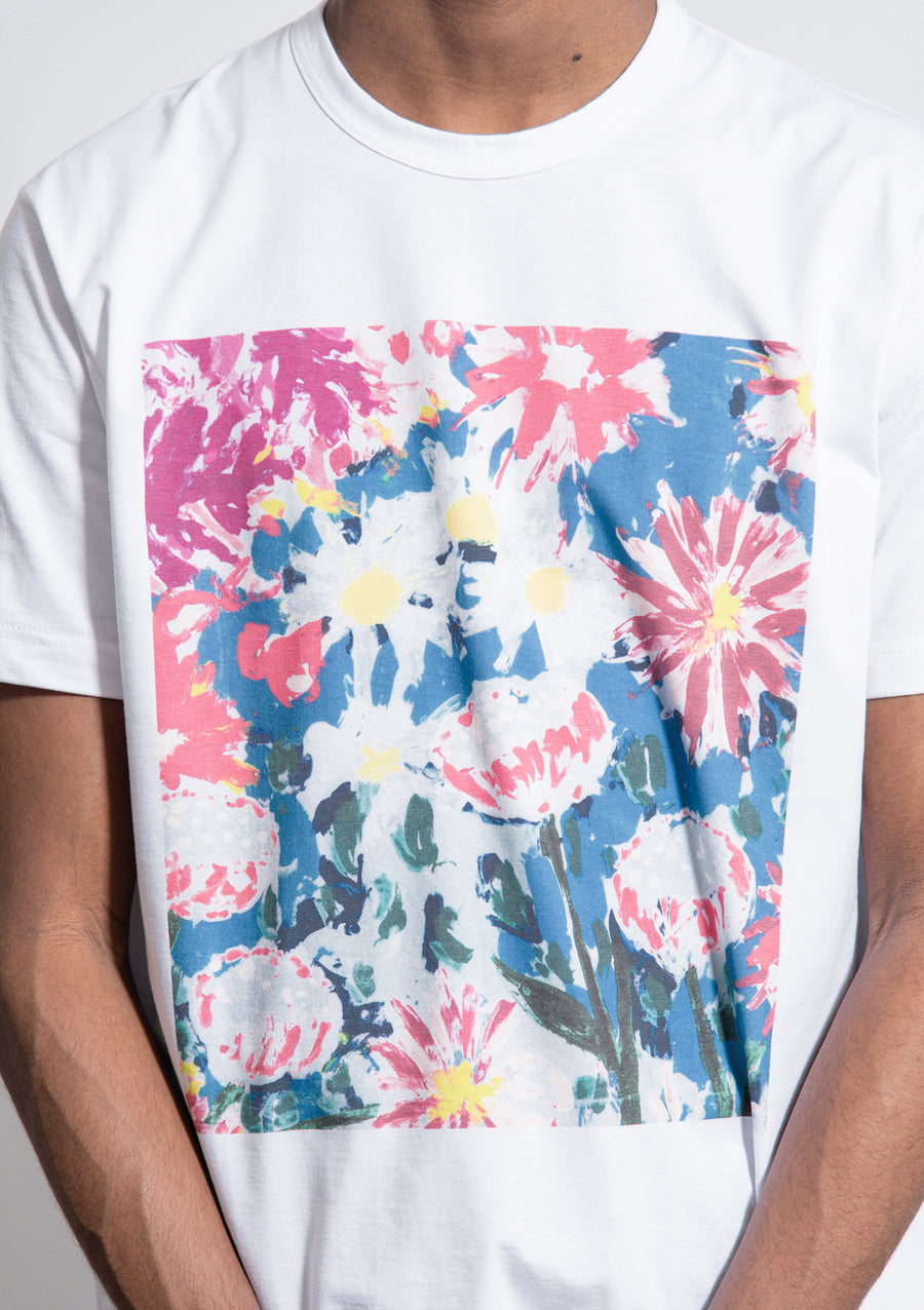 Floral Print Tee White