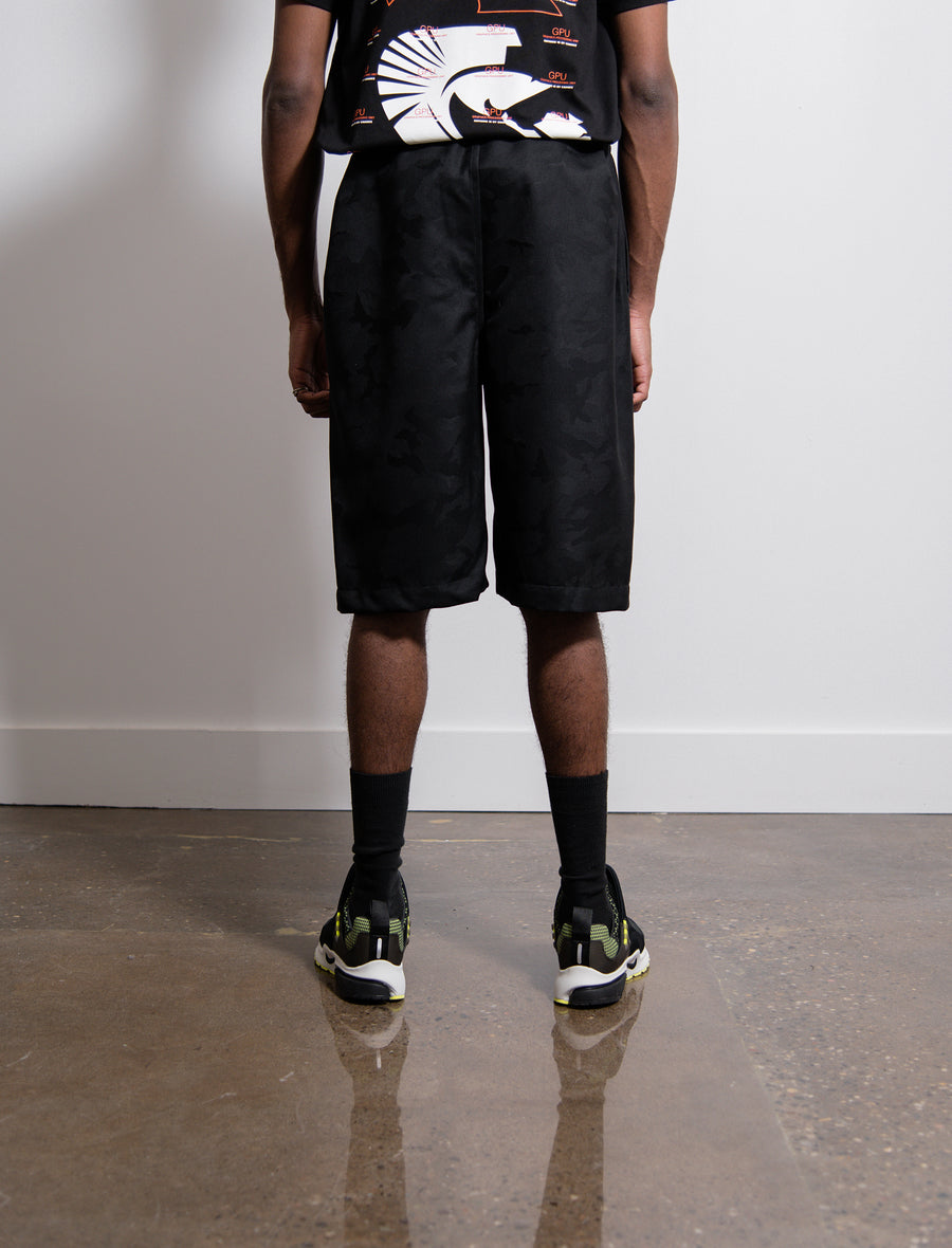 Wool Jacquard Camo Short Black