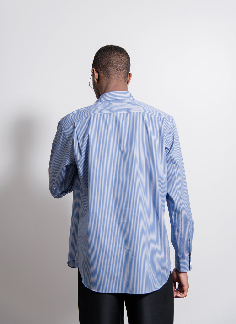 Broad Stripe Jersey Insert Shirt Blue