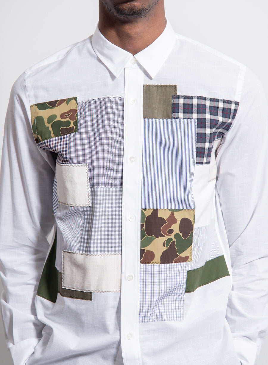 Linen Cloth Patchwork Shirt White