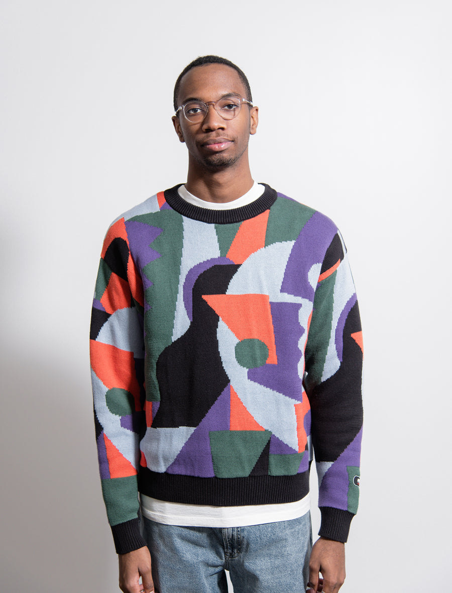 Ornon Jacquard Crewneck Sweater Purple/Green/Orange