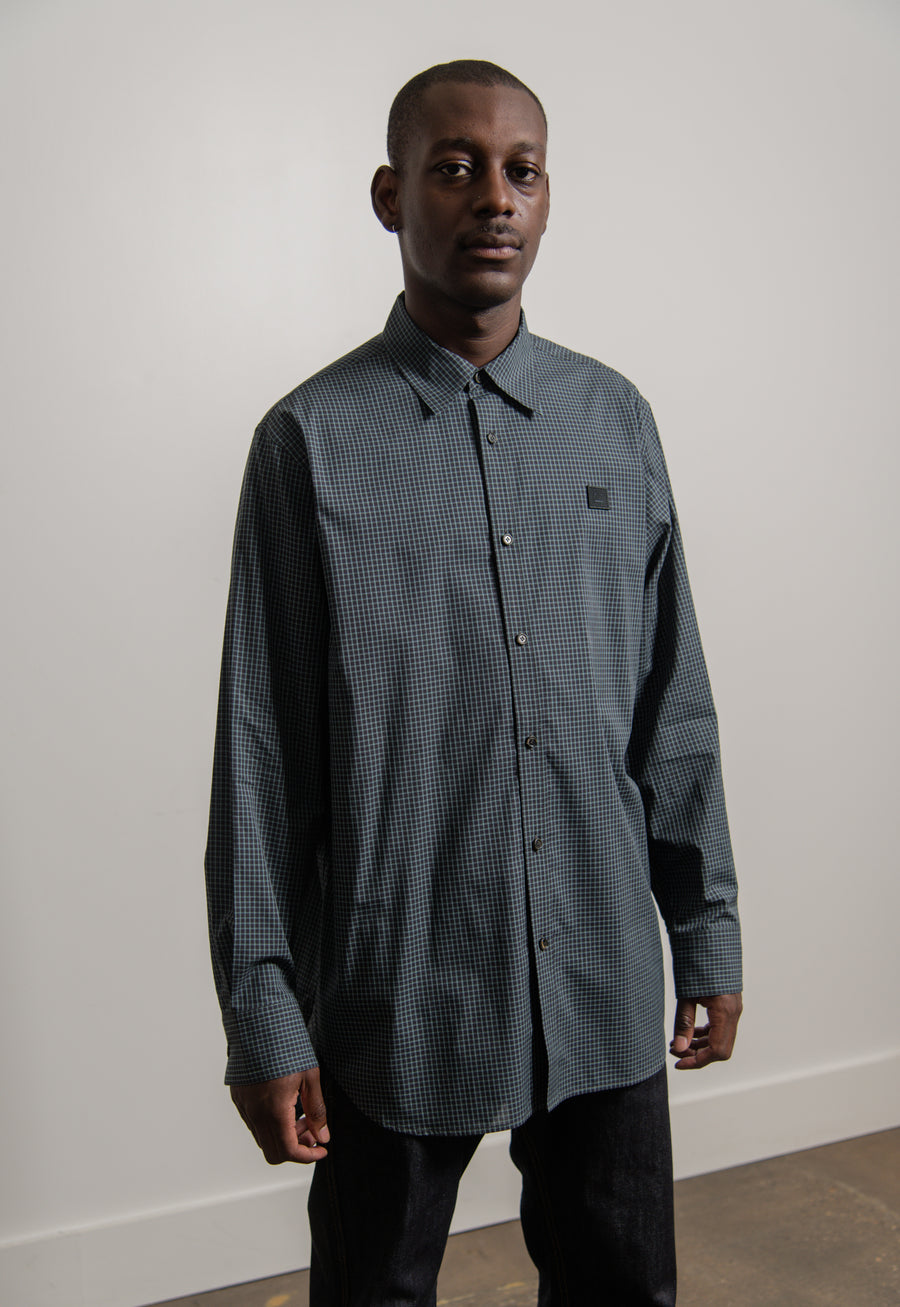 Face Logo Check Shirt Navy/Black SHIR000007