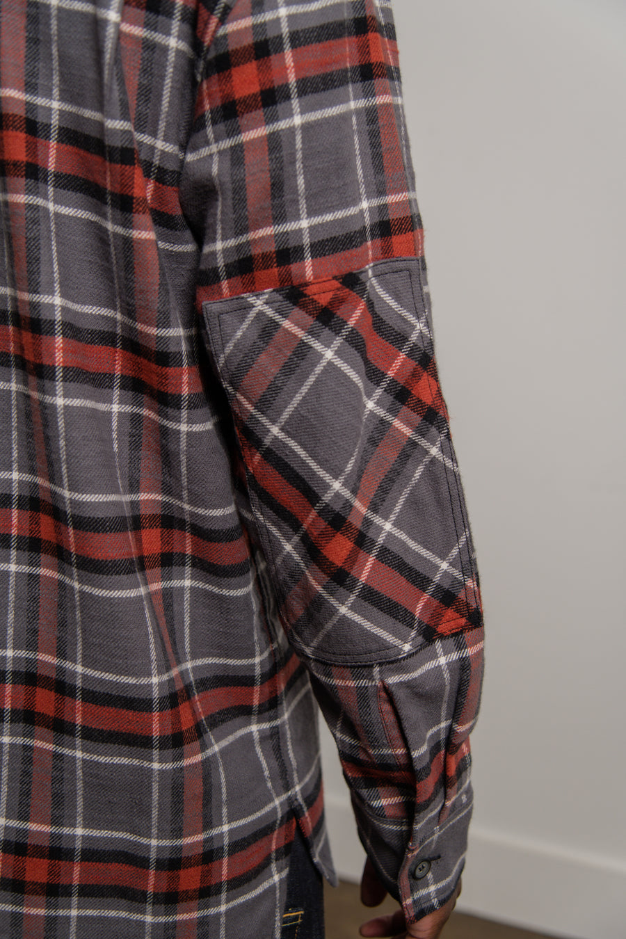 Patch Flannel Shirt Grey/Red SHIR000013