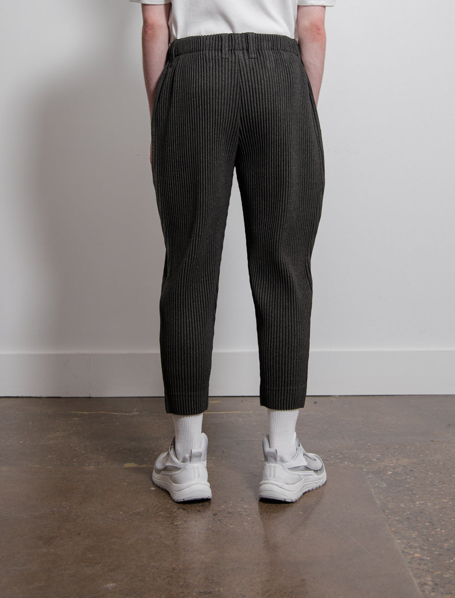 Wool Like Pleated Trouser Dark Grey FF005