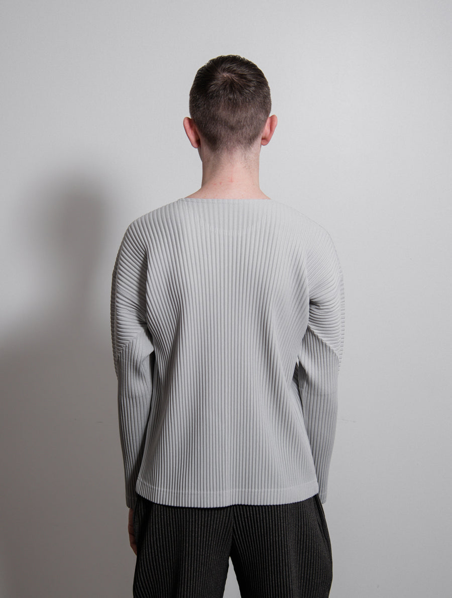 Basics Pleated L/S Tee Light Grey JK021