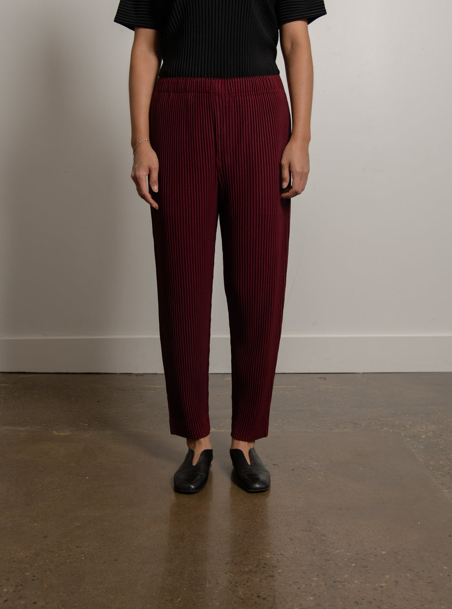 Colourful Pleats Trouser Wine Red JF141