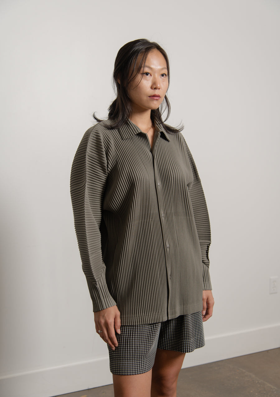 Snap Button Pleated Shirt Sage Khaki JJ100