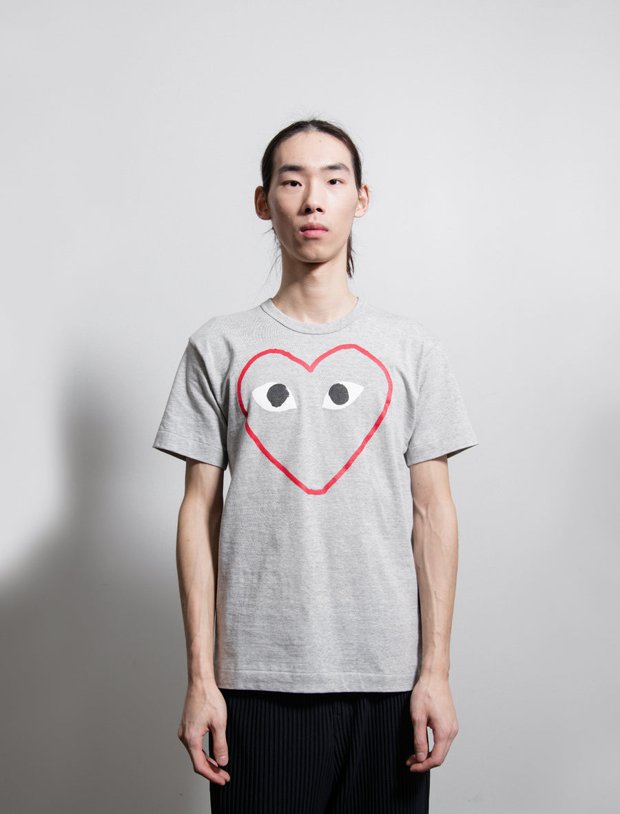 Short Sleeve Heart Outline Print Tee Red/Grey T266