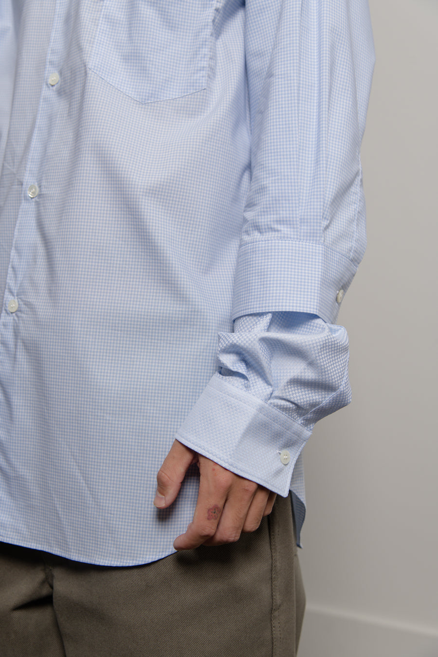 Poplin Check Double Sleeve Shirt Blue/White W28004