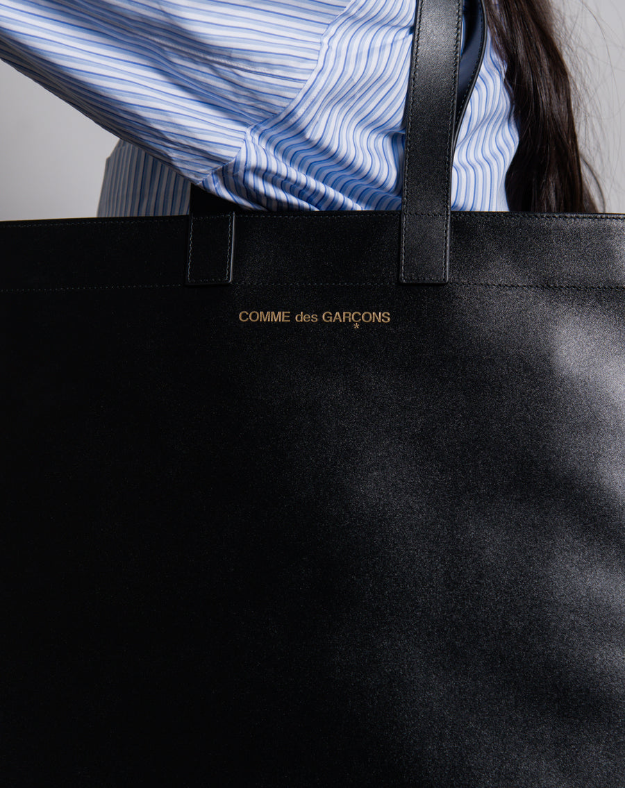 Classic Leather Tote Bag Black
