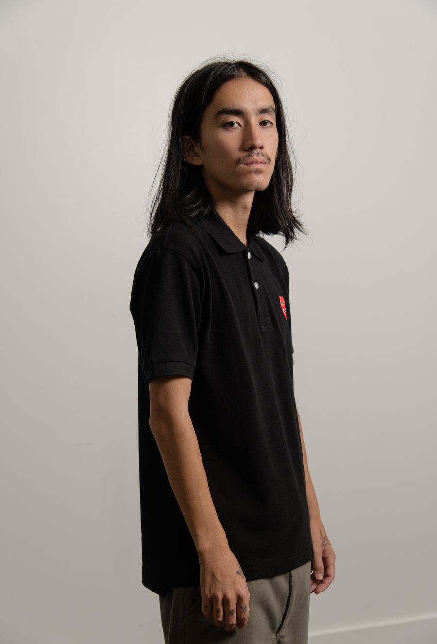 Layered Double Emblem Polo Black/Red T290