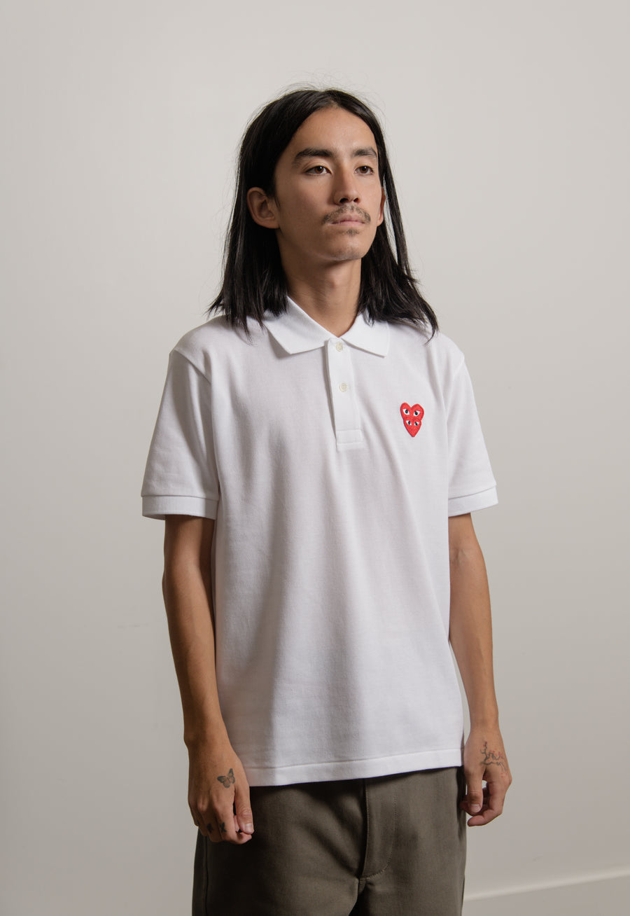 Layered Double Emblem Polo White/Red T290