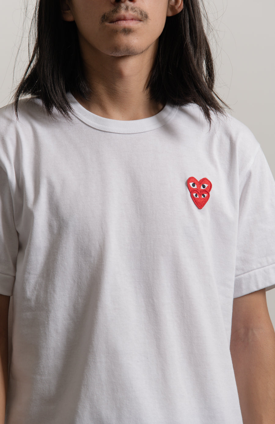 Layered Double Emblem Tee White/Red T288