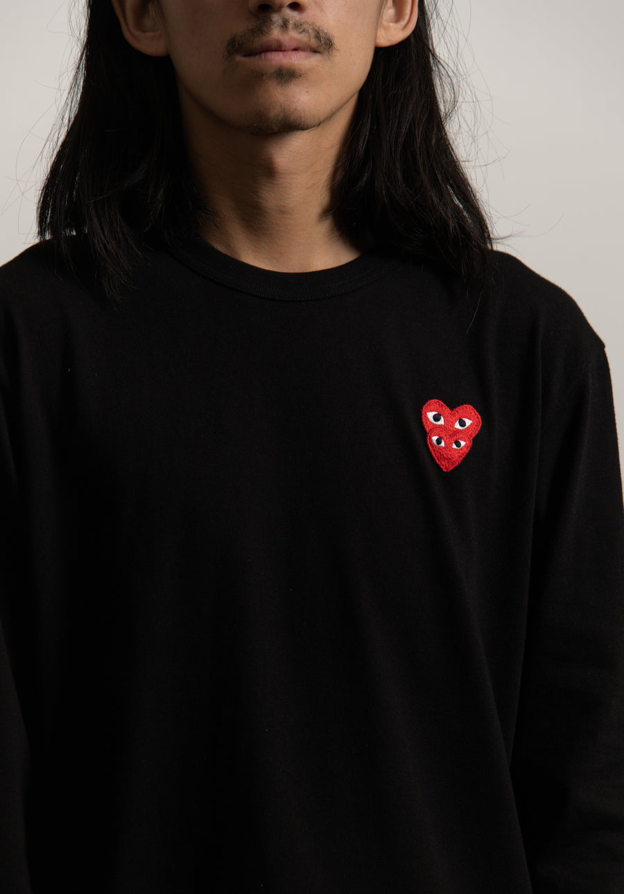 Long Sleeve Layered Double Emblem Tee Black/Red T292