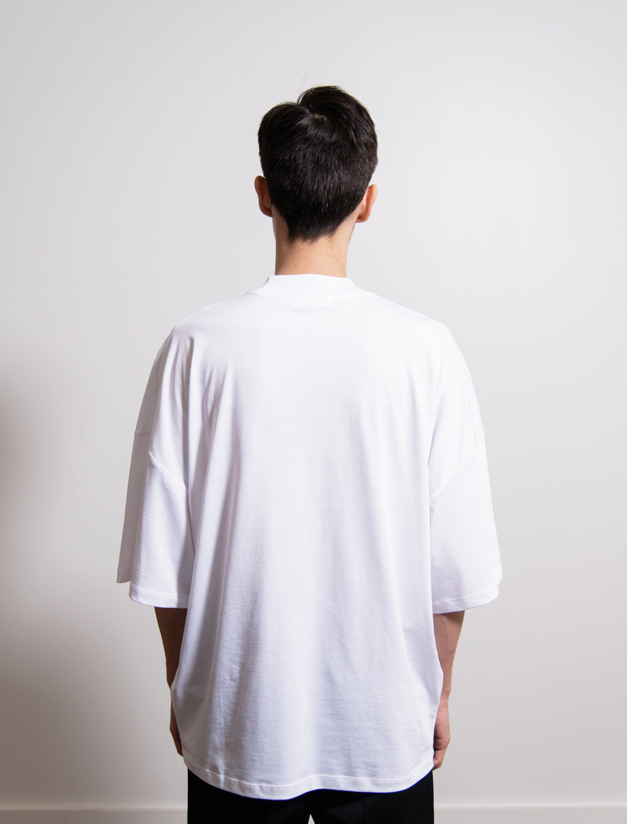 Ribbed H-Neck Boxy Tee White