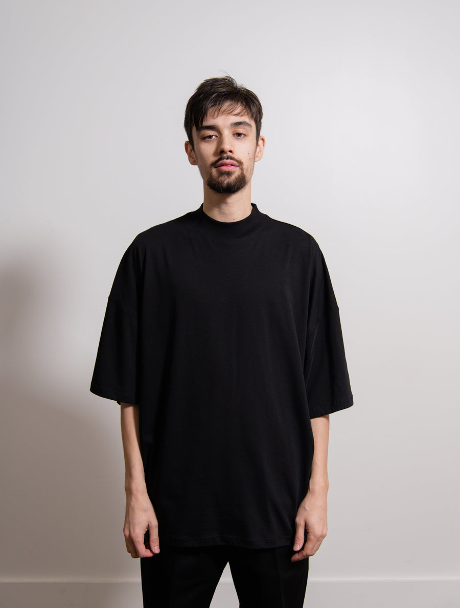 Ribbed H-Neck Boxy Tee Black