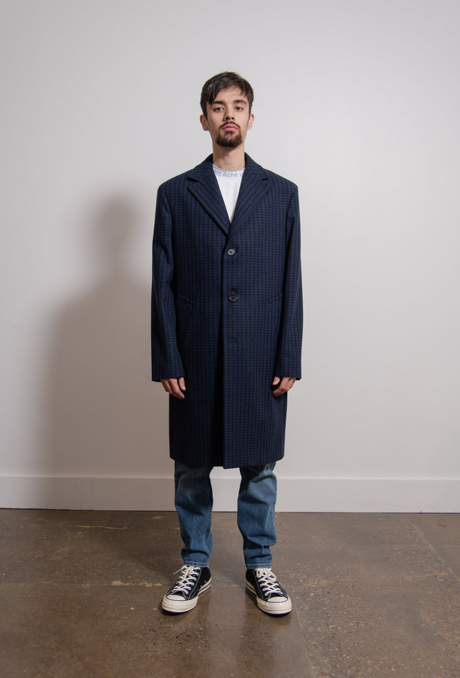 Wool Check Coat Navy/Black OUTW000329