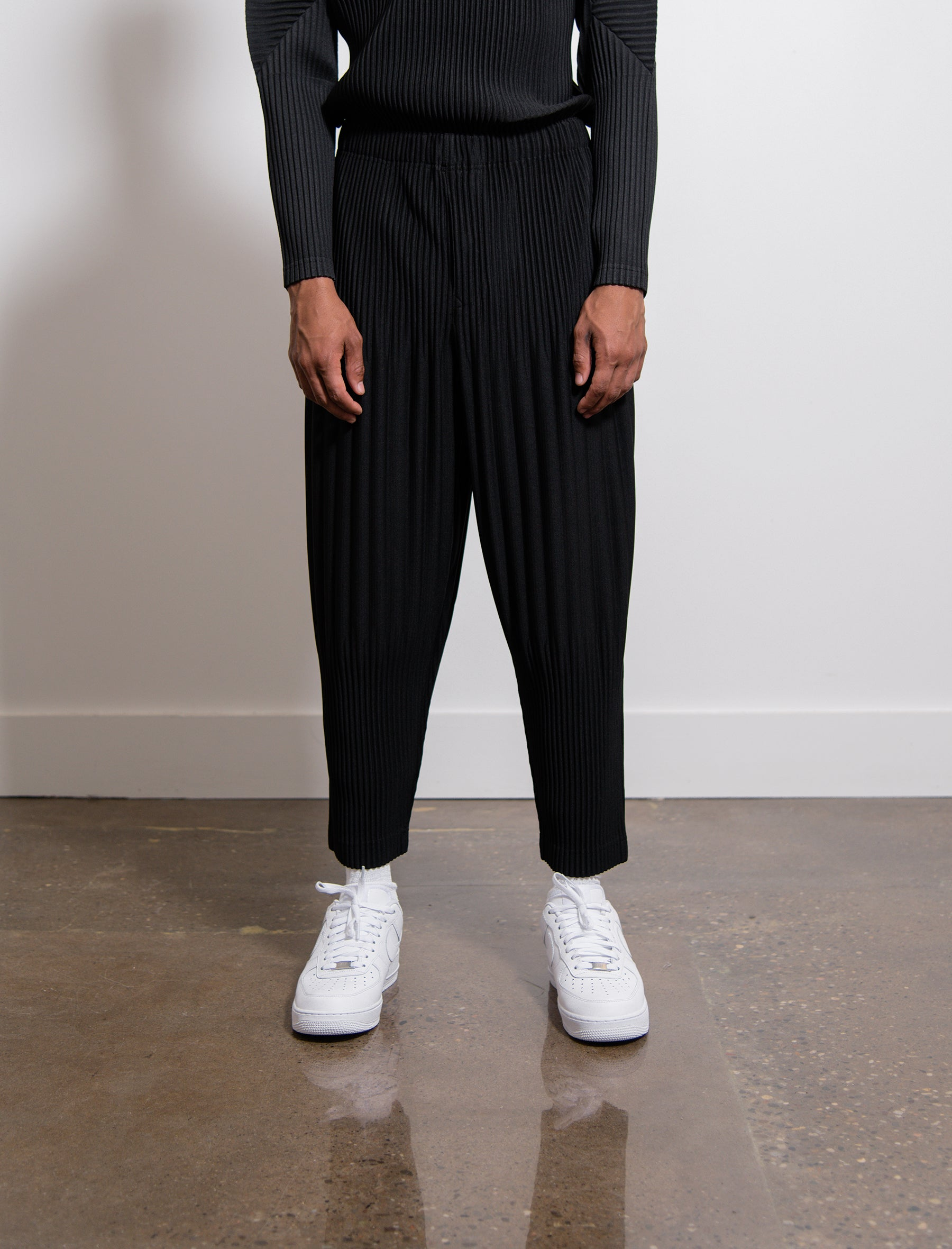 3be03cead Homme Plisse Issey Miyake Wide Pleated Long Basics Trouser Black HP98JF151  - NOMAD