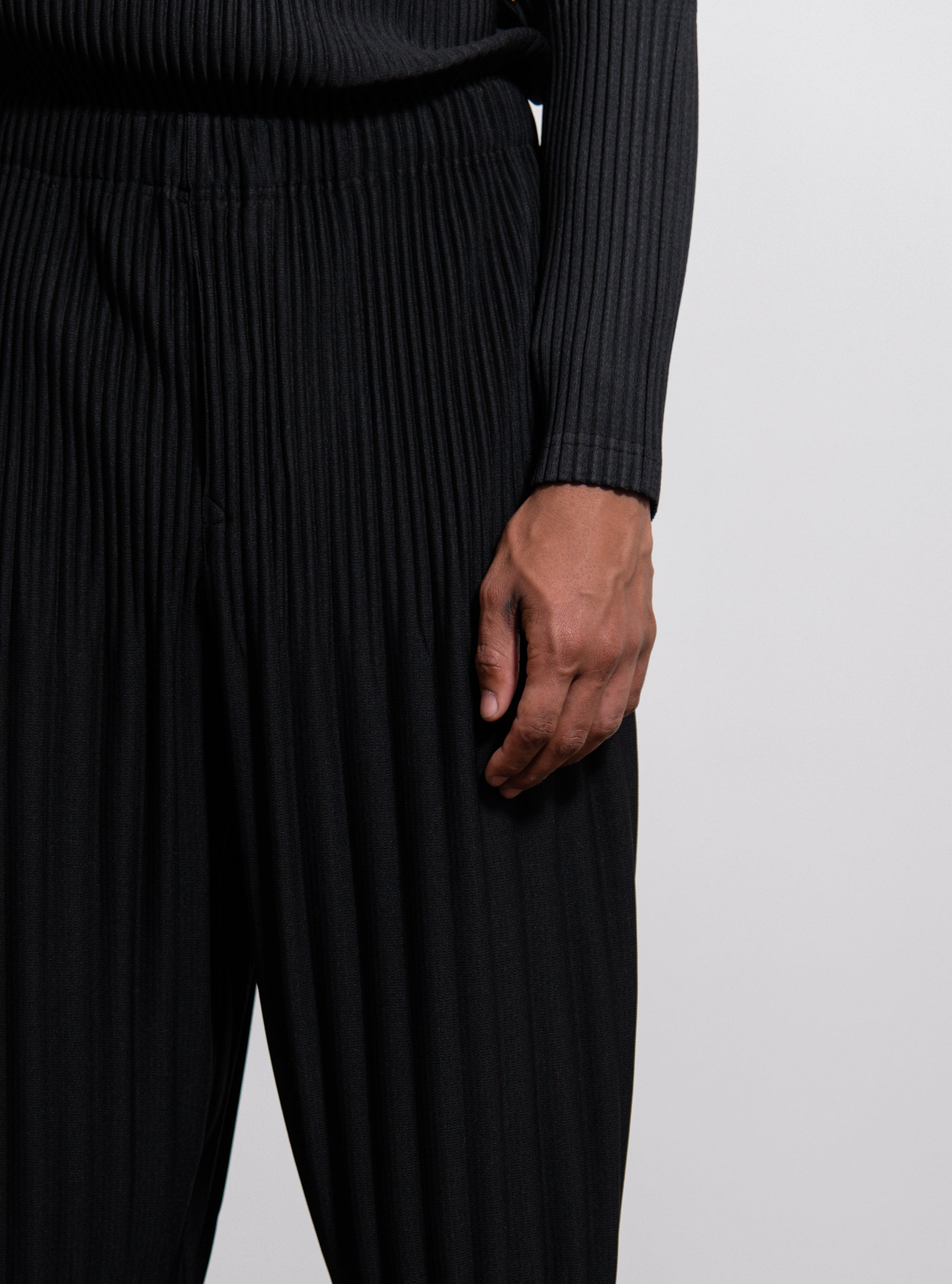 f41e1f0d1 Homme Plisse Issey Miyake. Wide Pleated Long Basics Trouser Black HP98JF151