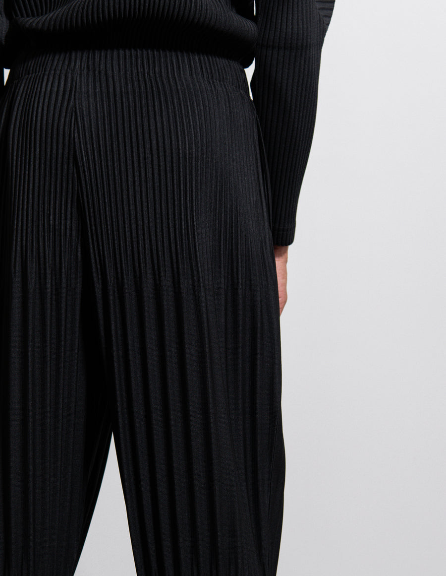 Wide Pleated Long Basics Trouser Black HP98JF151
