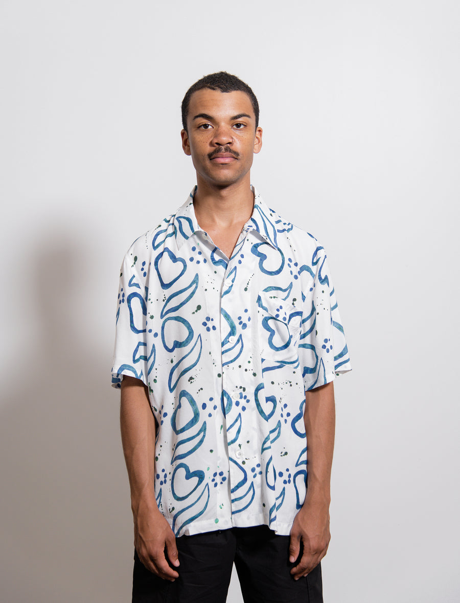 Handpainted Tile Print Short Sleeve Shirt White/Blue