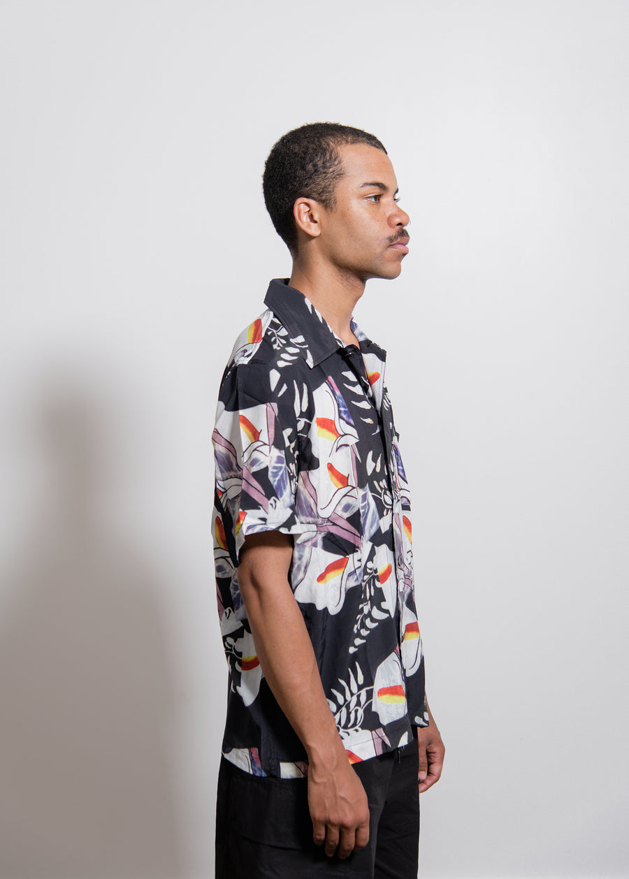 Crushed Tile Print Short Sleeve Shirt Black/Multi