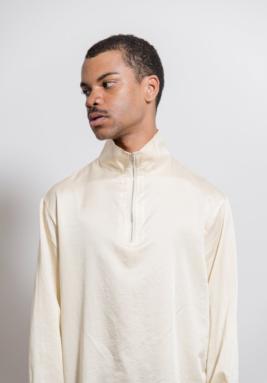 Cotton Silk Half-Zip Shirt Champagne