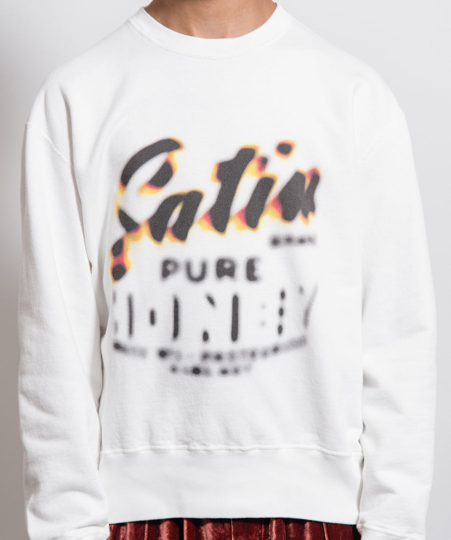 Honey Print Elbow Patch Sweater White
