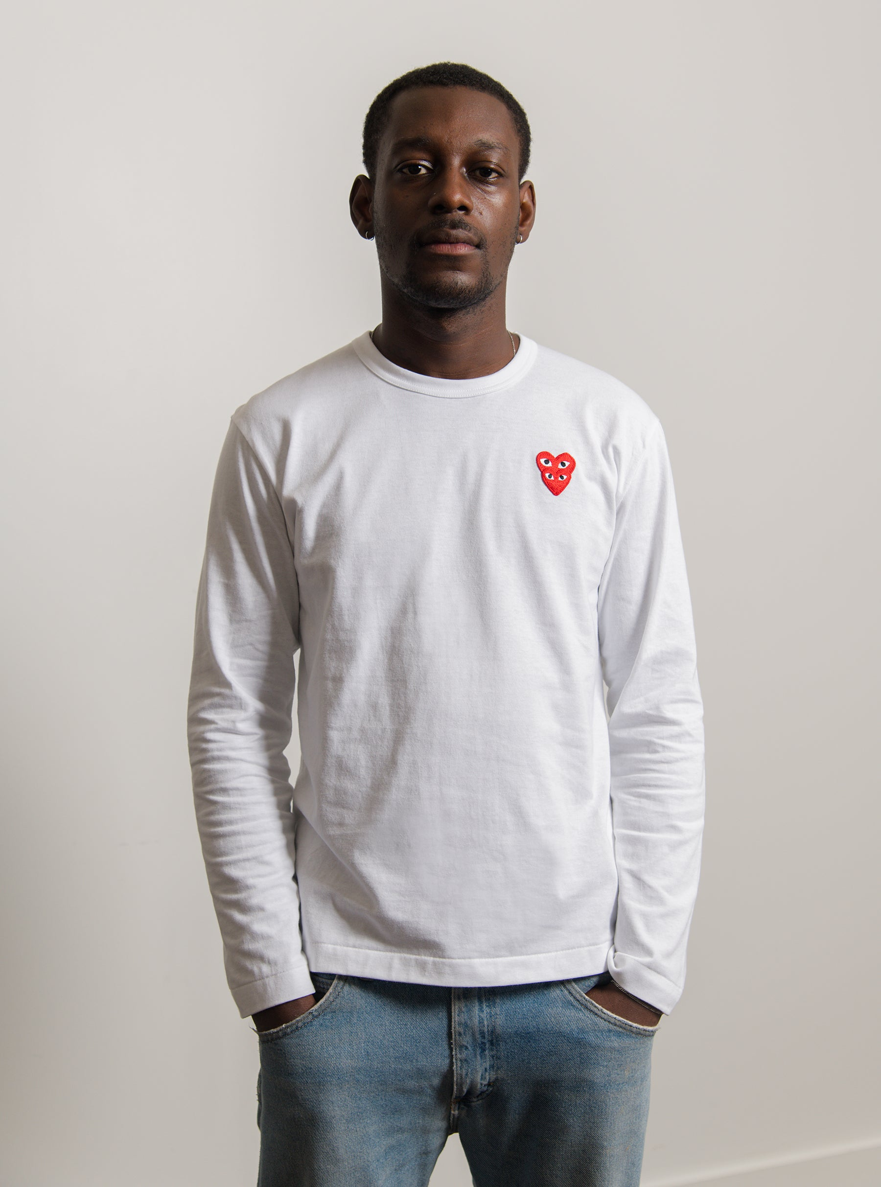 Long Sleeve Layered Double Emblem Tee White/Red T292